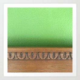 Green Wall, Wood Trim Art Print