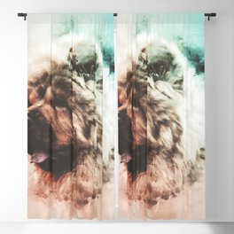 Chow Chow Digital Watercolor Painting Blackout Curtain