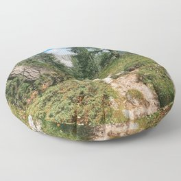 Path through the mountain forest Floor Pillow