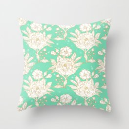 stylish golden and mint floral strokes design Throw Pillow