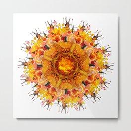 calavera orange mandala Metal Print