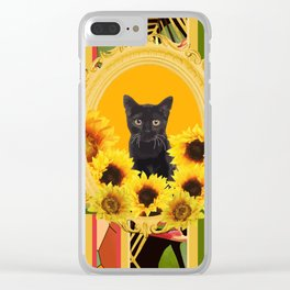 Black Cat Frame Sunflower Monstera Clear iPhone Case