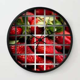Strawberries & Square Grid Collage Metallic Wall Clock