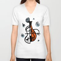 cello V-neck T-shirts featuring Cello by Ewen Prigent
