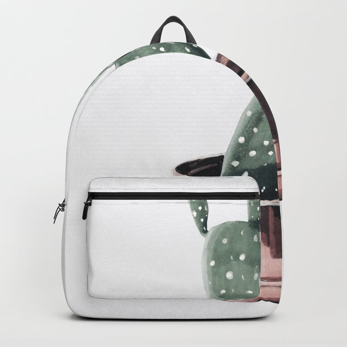 Potted Cactus Rose Gold Backpack