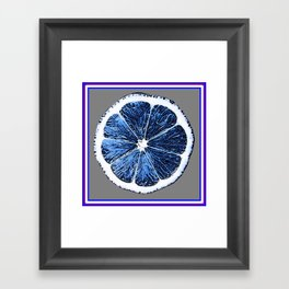 Modern Blue Grape Fruit Abstract Pattern Framed Art Print