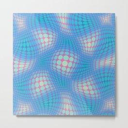 Circle Waves Blue Metal Print