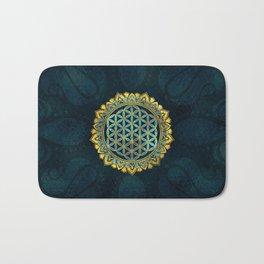 Flower of life gold an blue texture  glass Bath Mat