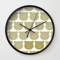 teddy bear Wall Clocks featuring Teddy by ColourMoiChic