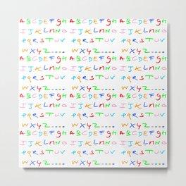 alphabet-letter,child,language,fun,abc,abcdefg,symbols,abecedarium,script,write,writing,signe,read Metal Print