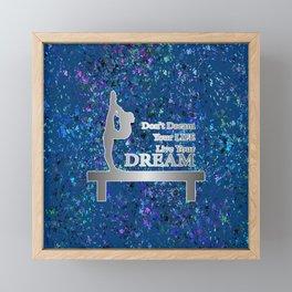 Gymnastics Live Your Dream-Silver and Navy Digital Design Framed Mini Art Print