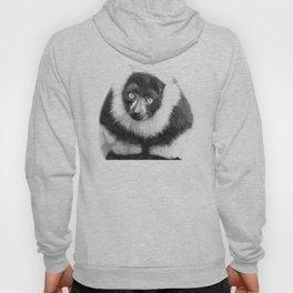 Black and white lemur animal portrait Hoody