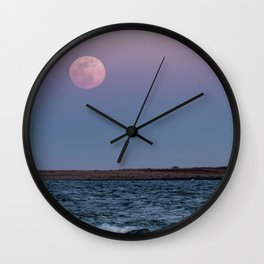Moonrise over Milk island 3-20-2019 Wall Clock
