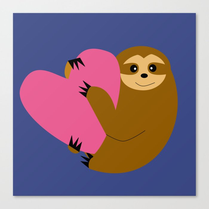Sloth in love blue Canvas Print