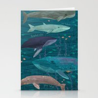 whales Stationery Cards featuring Whales by Stephanie Fizer Coleman