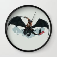 skyrim Wall Clocks featuring Riders of Skyrim  by Abby Trantina