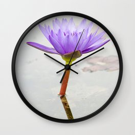 Blue Lotus Reflection Wall Clock