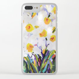 White Daffodil Meadow Clear iPhone Case