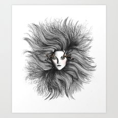 Fashion Illustration - Wild Deer Art Print