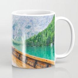 Boat in the lake watercolor painting  Coffee Mug