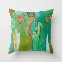"flora bowley Throw Pillows featuring ""Wish Believe"" Original Painting by Flora Bowley by Flora Bowley"