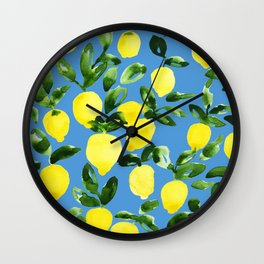 Blue Lemons Wall Clock