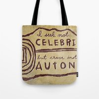 celebrity Tote Bags featuring Celebrity & Autonomy by Josh LaFayette
