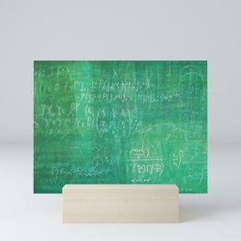 School blackboard green pattern with math equations Mini Art Print