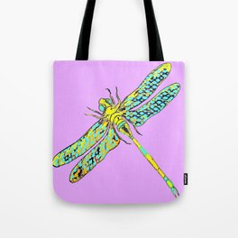 Yellow & Aqua Fantasy Dragonfly in Ambient Lilac-Pink  Tote Bag