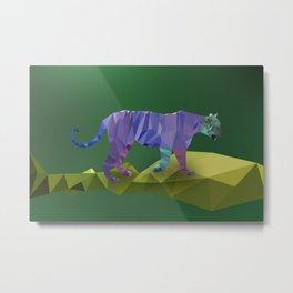 Low Poly Tiger (Color) Metal Print
