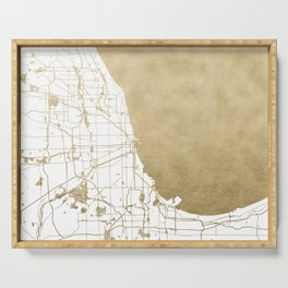 Chicago Gold and White Map Serving Tray