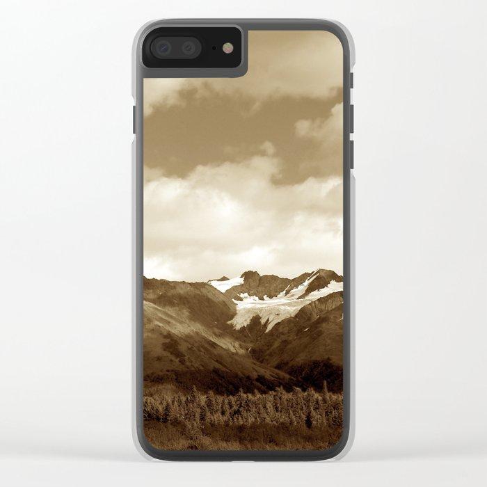 Alaskan Mountain Vista - Sepia Clear iPhone Case