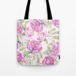 Watercolor hand painted pink lavender roses polka dots Tote Bag