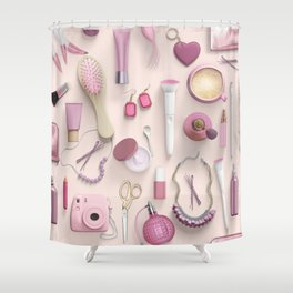 Pink Vanity Table Shower Curtain