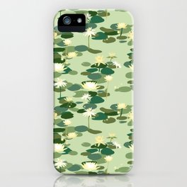 Waterlily pattern in Green iPhone Case