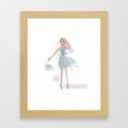 Green Fringe Dress Illustration Framed Art Print