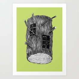 Mysterious Forest Creatures In Tree Log Art Print
