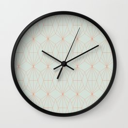 Geometry art decó in blue and orange Wall Clock