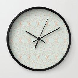 Geometry art decó in blue and orange Wall Clock