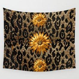 Animal Print Cheetah Triple Gold Wall Tapestry