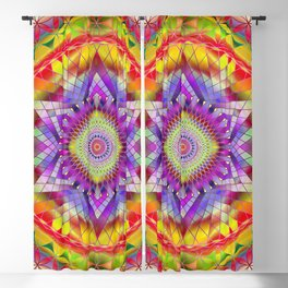 Mandala Sacred Geometry Snowflake Purple Blackout Curtain
