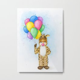Little giraffe girl Metal Print