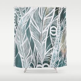 Feathery Design in Emerald Green Shower Curtain