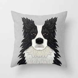 Black Border Collie Throw Pillow