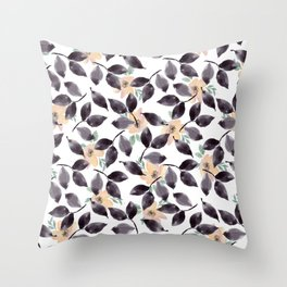 Hand painted blush coral black watercolor floral Throw Pillow