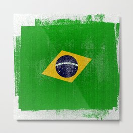 Brazilian Distressed Halftone Denim Flag Metal Print