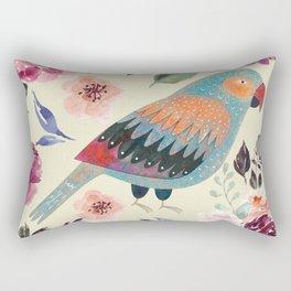 Parrot Art Floral Watercolor Painting Rectangular Pillow