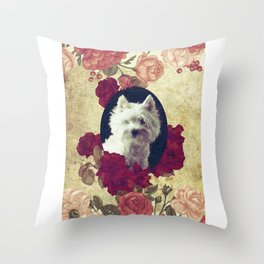 Westie & Roses Vintage Pure Frame Throw Pillow