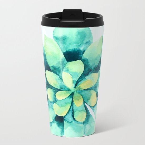 tropical flower  Metal Travel Mug