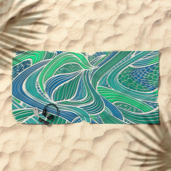 Abstract Wavy Leaves Beach Towel